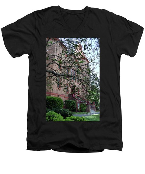 Men's V-Neck T-Shirt featuring the photograph Sidney Park Cme Church by Skip Willits