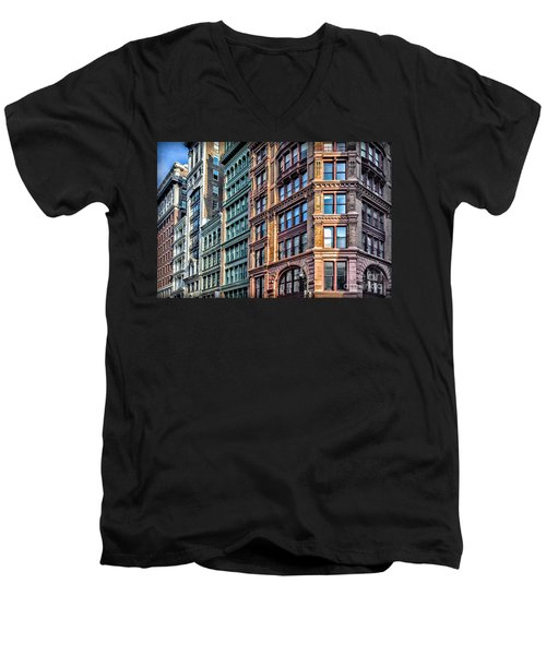Men's V-Neck T-Shirt featuring the photograph Sights In New York City - Colorful Buildings by Walt Foegelle