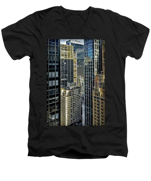 Men's V-Neck T-Shirt featuring the photograph Sights In New York City - Skyscrapers Shot From Skyscraper by Walt Foegelle
