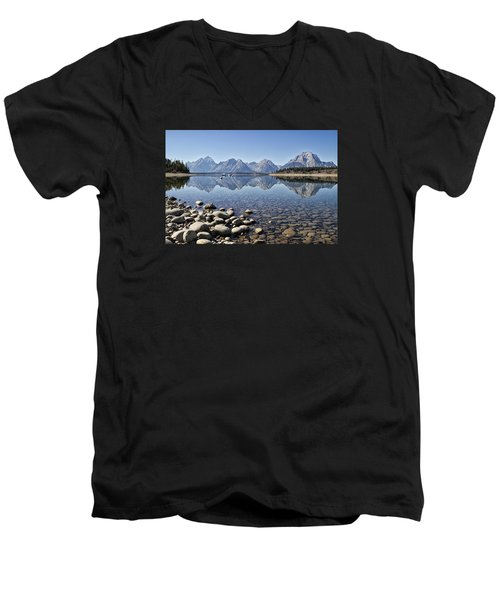 Men's V-Neck T-Shirt featuring the photograph Jackson Lake  Near Signal Mountain Lodge by Shirley Mitchell