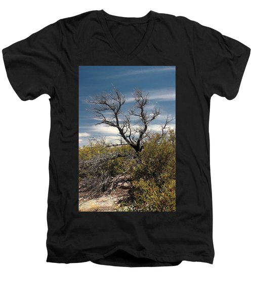Men's V-Neck T-Shirt featuring the photograph Signs Of Life After The Fire by Joe Kozlowski