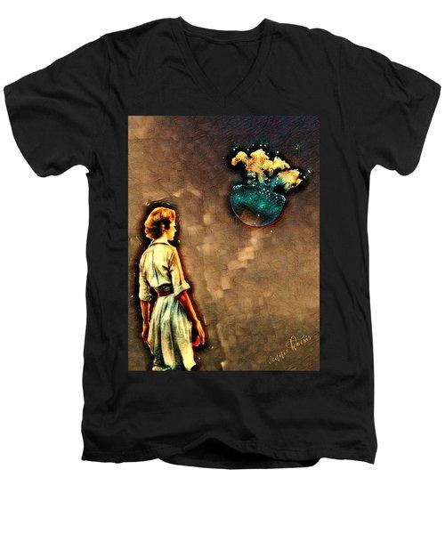 Silence Must Be Heard Men's V-Neck T-Shirt by Vennie Kocsis