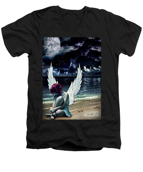 Silence Of An Angel Men's V-Neck T-Shirt by Mo T
