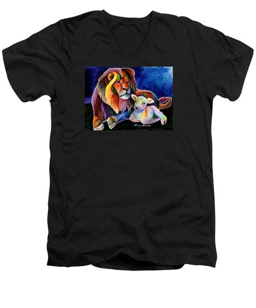 Silent Night Men's V-Neck T-Shirt by Sherry Shipley