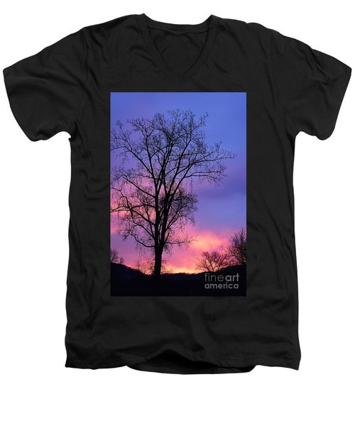 Men's V-Neck T-Shirt featuring the photograph Silhouette At Dawn by Larry Ricker
