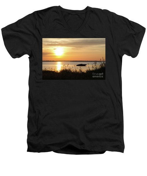 Men's V-Neck T-Shirt featuring the photograph Silhouette By Sunset by Kennerth and Birgitta Kullman