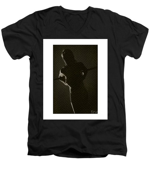 Silhouette Of Topless Girl Men's V-Neck T-Shirt by Michael Edwards