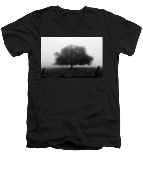 Silhouette Of Tree In Field Men's V-Neck T-Shirt