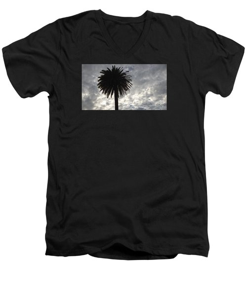 Silhouette Solo Palm  Men's V-Neck T-Shirt by Nora Boghossian