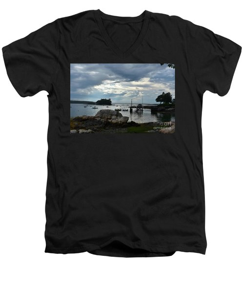 Silhouetted Views From Bustin's Island In Maine Men's V-Neck T-Shirt by DejaVu Designs