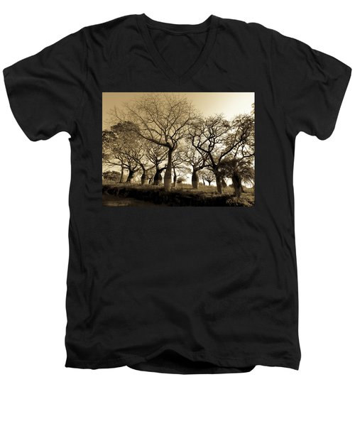 Silk Floss Trees In Sepia Men's V-Neck T-Shirt