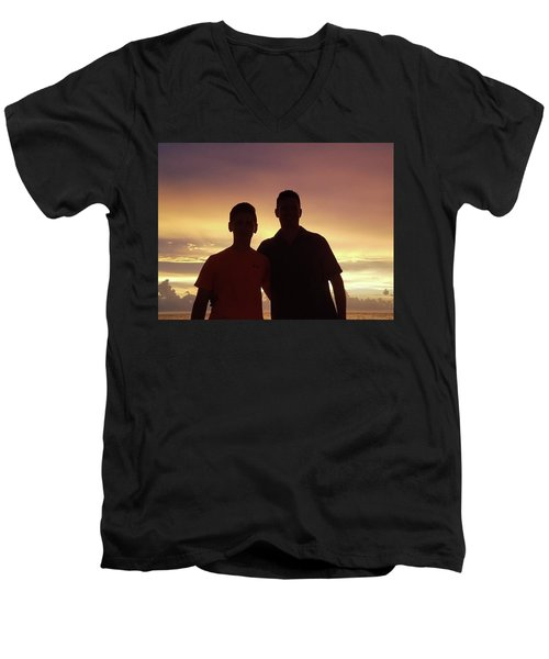Silouettes Men's V-Neck T-Shirt by Val Oconnor