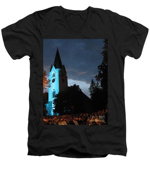 Men's V-Neck T-Shirt featuring the photograph Silute Lutheran Evangelic Church Lithuania by Ausra Huntington nee Paulauskaite