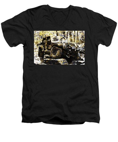 Silver And Gold Jeep Wrangler Jku Men's V-Neck T-Shirt