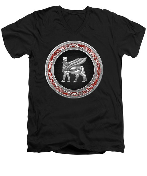 Silver Babylonian Winged Bull  Men's V-Neck T-Shirt by Serge Averbukh