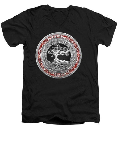 Silver Celtic Tree Of Life Men's V-Neck T-Shirt