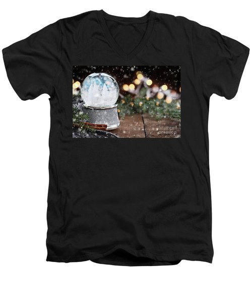 Silver Snow Globe With White Christmas Trees Men's V-Neck T-Shirt by Stephanie Frey