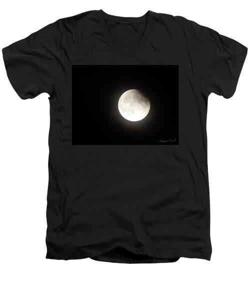 Silver White Eclipse Men's V-Neck T-Shirt