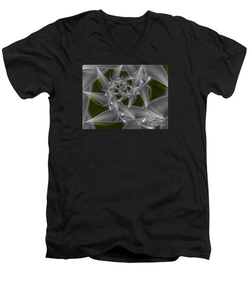 Men's V-Neck T-Shirt featuring the digital art Silverleaves by Karin Kuhlmann