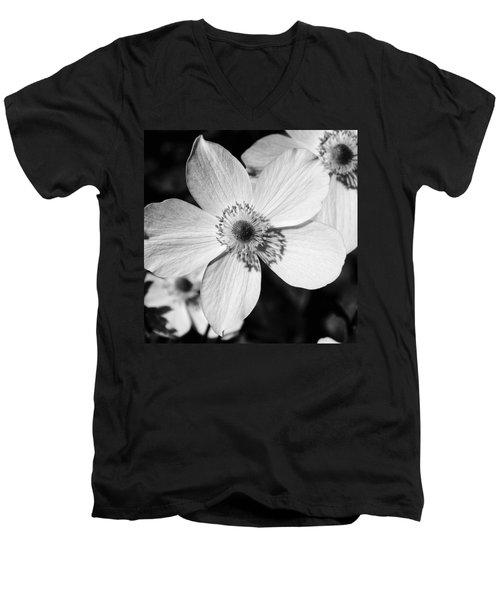 Simply Black And White Men's V-Neck T-Shirt by Karen Stahlros