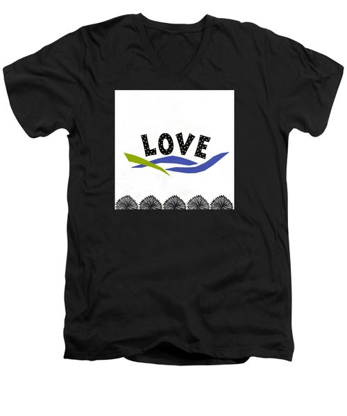 Men's V-Neck T-Shirt featuring the mixed media Simply Love by Gloria Rothrock