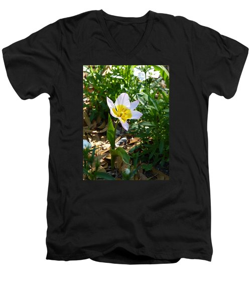 Men's V-Neck T-Shirt featuring the photograph Single Flower - Simplify Series by Carla Parris