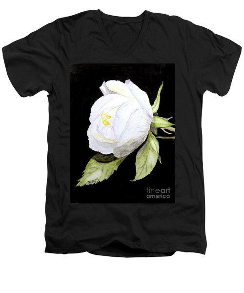 Men's V-Neck T-Shirt featuring the painting Single White  Bloom  by Carol Grimes
