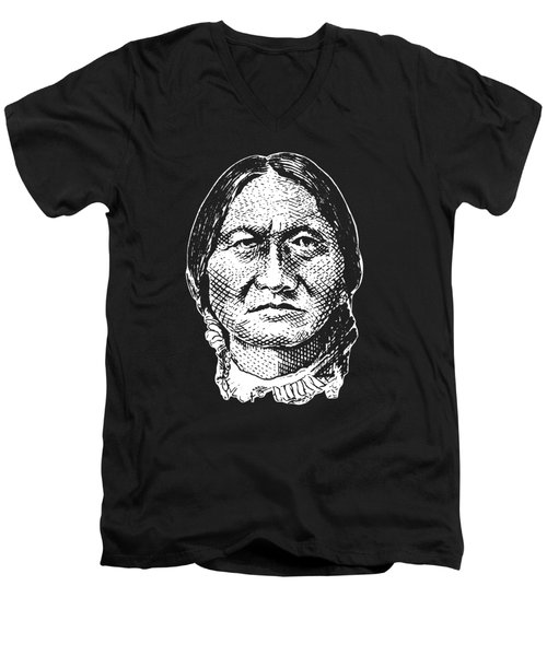 Sitting Bull Graphic - Black And White Men's V-Neck T-Shirt by War Is Hell Store