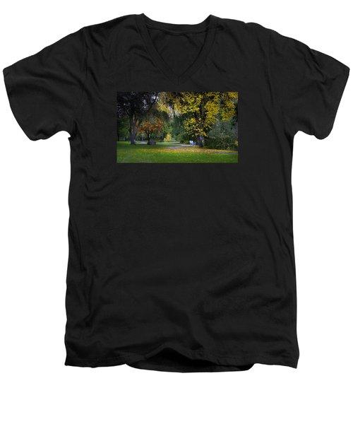 Skaha Lake Park Men's V-Neck T-Shirt by John Poon