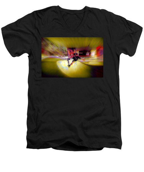 Men's V-Neck T-Shirt featuring the photograph Skateboarding by Lori Seaman