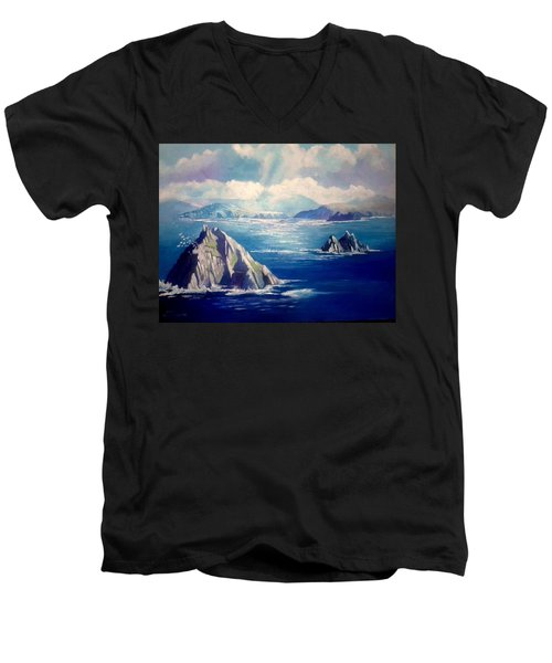 Men's V-Neck T-Shirt featuring the painting Skelligs Ireland by Paul Weerasekera
