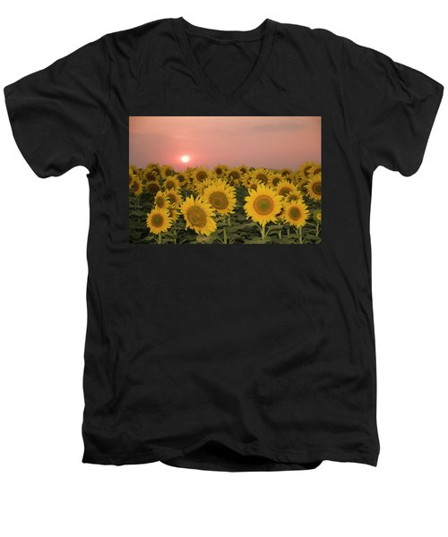 Skn 2179 Sunflower Landscape Men's V-Neck T-Shirt