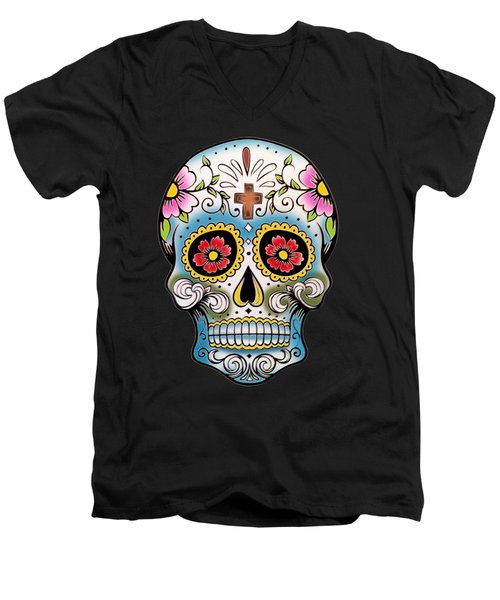 Skull 10 Men's V-Neck T-Shirt by Mark Ashkenazi