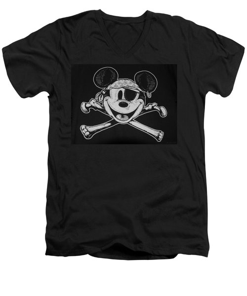 Skull And Bones Mickey  Men's V-Neck T-Shirt by Rob Hans