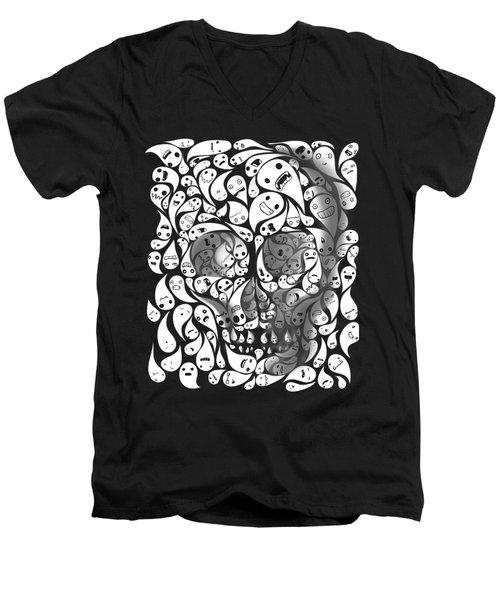 Skull Doodle Men's V-Neck T-Shirt by Sassan Filsoof