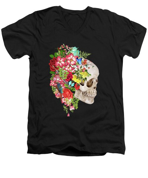 Skull Floral Men's V-Neck T-Shirt