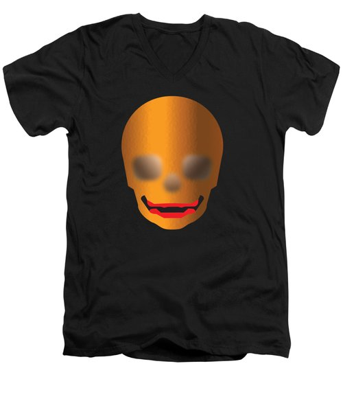 Skull With Lips Men's V-Neck T-Shirt by Stan  Magnan