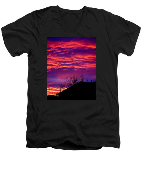 Men's V-Neck T-Shirt featuring the photograph Sky Drama by Valentino Visentini