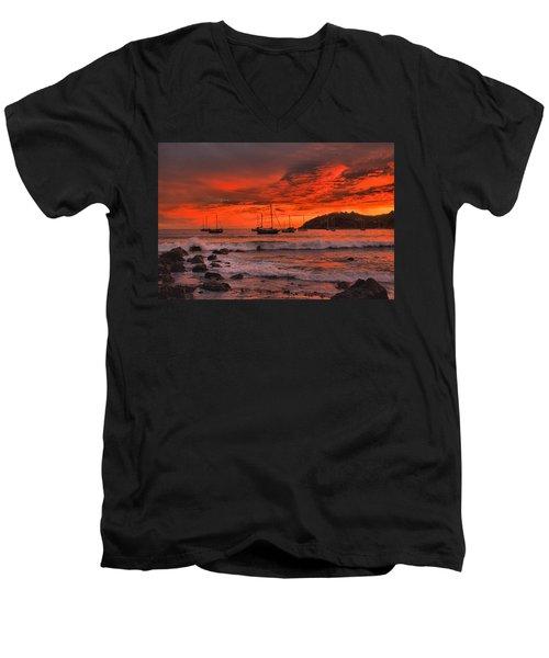 Sky On Fire Men's V-Neck T-Shirt by Jim Walls PhotoArtist