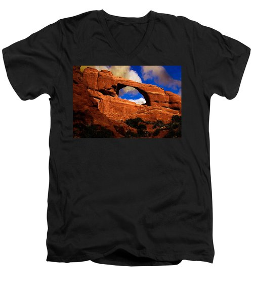 Men's V-Neck T-Shirt featuring the photograph Skyline Arch by Harry Spitz