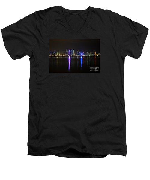 Skyline Of Doha, Qatar At Night Men's V-Neck T-Shirt by IPics Photography
