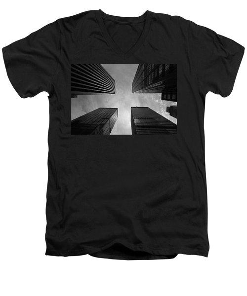 Skyscraper Intersection Men's V-Neck T-Shirt by Linda Edgecomb