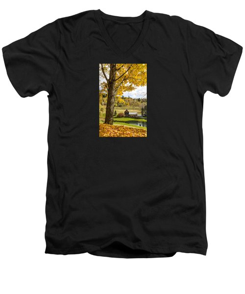 Men's V-Neck T-Shirt featuring the photograph Sleep Hollow Farm Woodstock Vt by Betty Denise