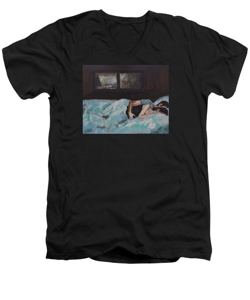 Sleeping In Men's V-Neck T-Shirt by Leslie Allen