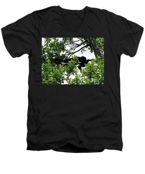 Men's V-Neck T-Shirt featuring the photograph Sleeping Monkey by Francesca Mackenney