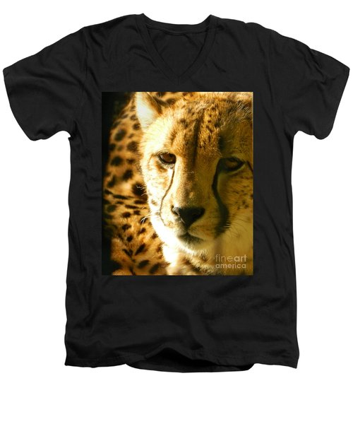 Sleepy Cheetah Cub Men's V-Neck T-Shirt