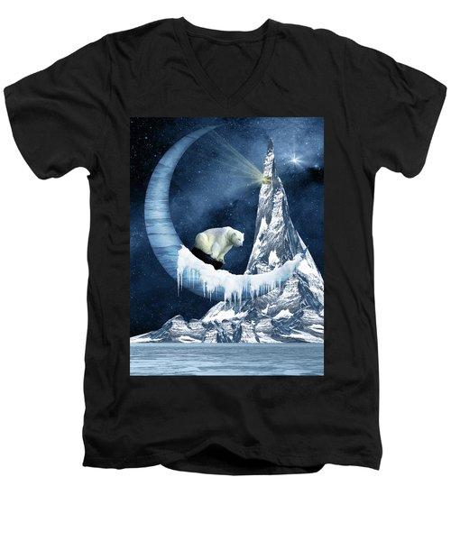 Sliding On The Moon Men's V-Neck T-Shirt by Mihaela Pater
