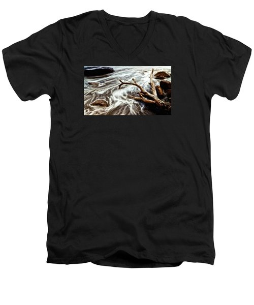 Men's V-Neck T-Shirt featuring the photograph Slow Motion Sea by Cameron Wood