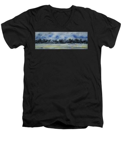 Men's V-Neck T-Shirt featuring the painting Slow Sail Home by Cynthia Lagoudakis