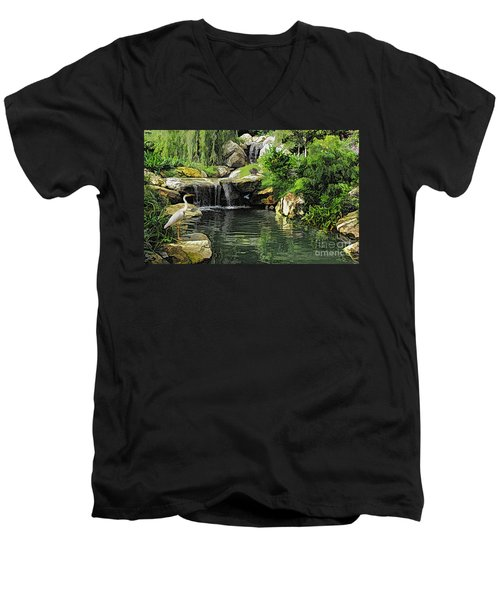 Small Creek Waterfall With Wildlife Men's V-Neck T-Shirt